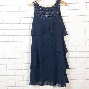 S.L. Fashions Women's Chiffon Blue Dress Sz 16.